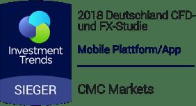 """Deutschland CFD- und FX-Studie 2018 von Investment Trends: """"Beste mobile Plattform/App"""""""