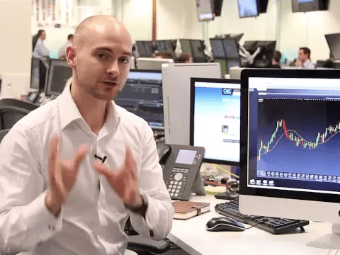 Man presenting technical indicators