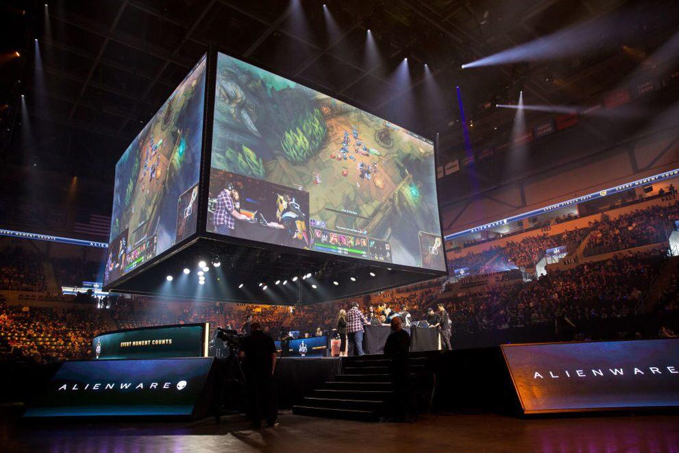 Esports stocks: a huge screen at an esports tournament.