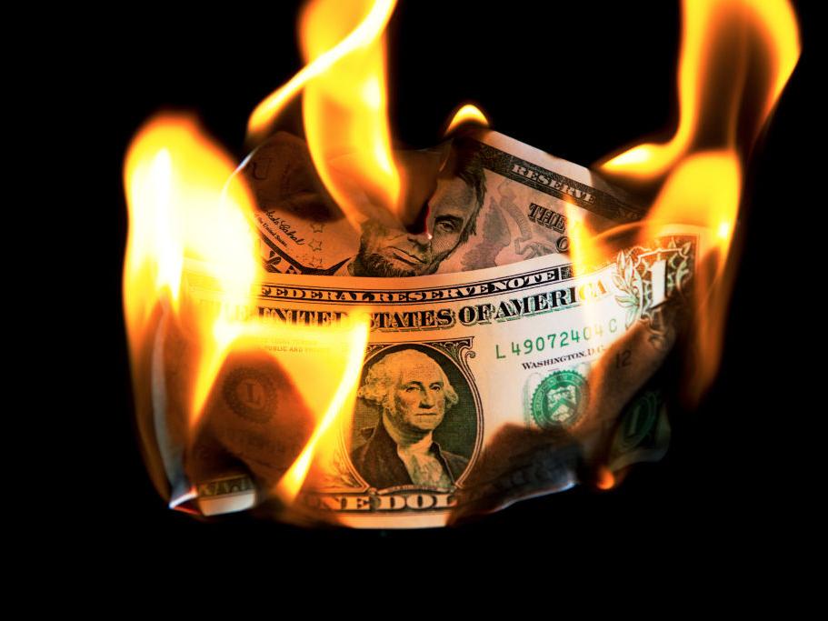 US dollar bills burn as US core CPI hits a 30-year high