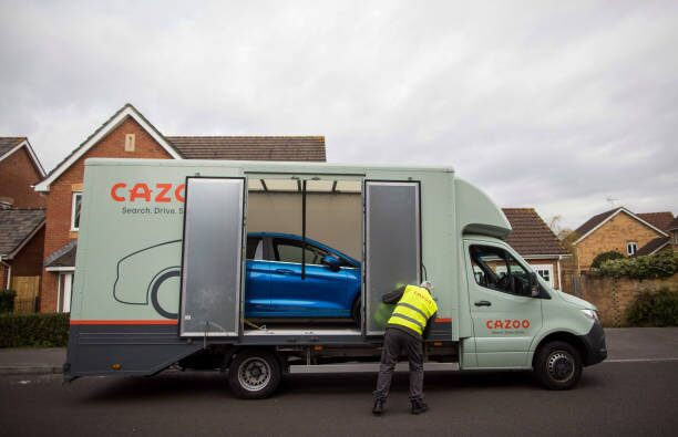 Cazoo SPAC - A Cazoo truck delivers a car to a customer
